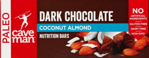 Caveman Dark Chocolate Almond Coconut Bars Perspective: front
