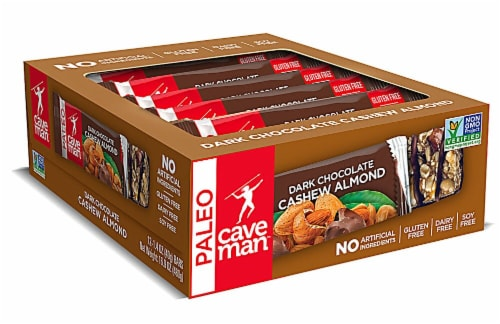 Caveman Paleo Dark Chocolate Cashew Almond Nutrition Bars Perspective: front
