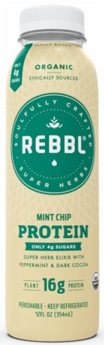REBBL Organic Mint Chip Protein Elixir Perspective: front