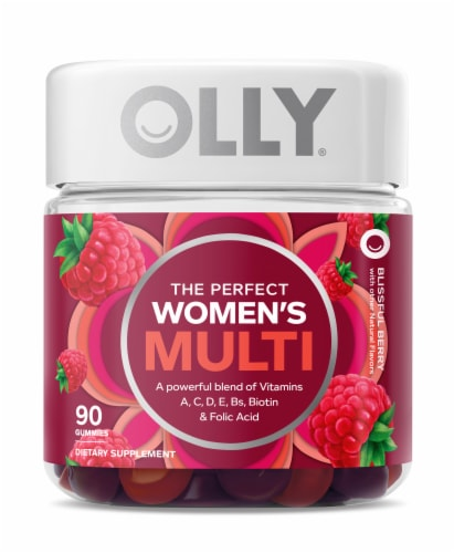 Olly The Perfect Women's Berry Multi-Vitamin Gummies Perspective: front