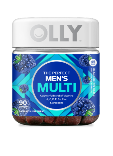 Olly The Perfect Men's Multi Blackberry Blitz Dietary Suplement Gummies Perspective: front