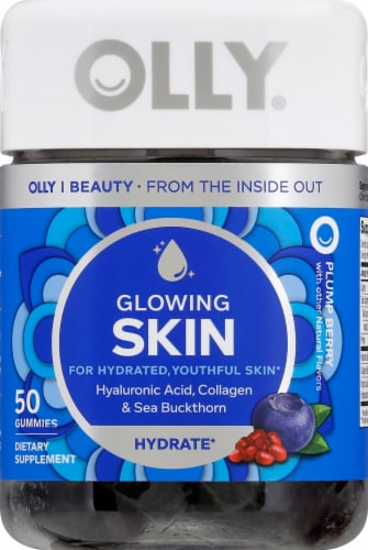 Olly Glowing Skin Hyaluronic Acid Collagen & Sea Buckthorn Gummies Perspective: front