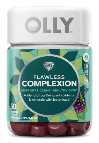 Olly Flawless Complexion Berry Fresh Dietary Supplement Gummies Perspective: front