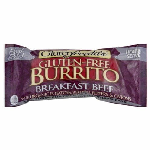 Glutenfreeda's Breakfast Beef Burrito Perspective: front