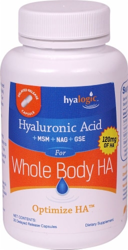 Hyalogic Hyaluronic Acid Whole Body HA Delayed Release Capsules Perspective: front