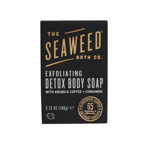 The Seaweed Bath Co. Arabica Coffee and Cinnamon Exfoliating Detox Body Soap Perspective: front