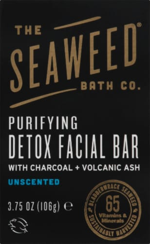 The Seaweed Bath Co  Purifying Detox Facial Bar With Charcoal and Volcanic Ash Unscented Perspective: front