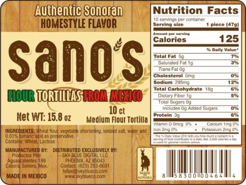 Sano's Authentic Sonoran Medium Mexican Flour Tortilla 10 Count Perspective: front