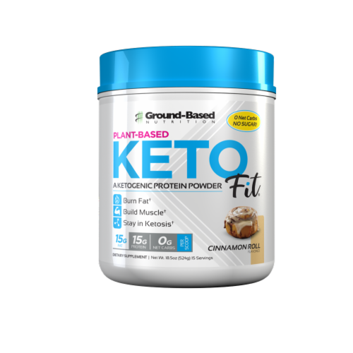 Ground-Based Nutrition Keto Fit Cinnamon Roll Plant-Based Aketogenic Protein Powder Perspective: front