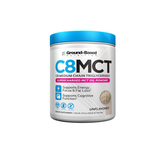 Ground-Based Nutrition C8 MCT Unflavored Supercharged MCT Oil Powder Perspective: front