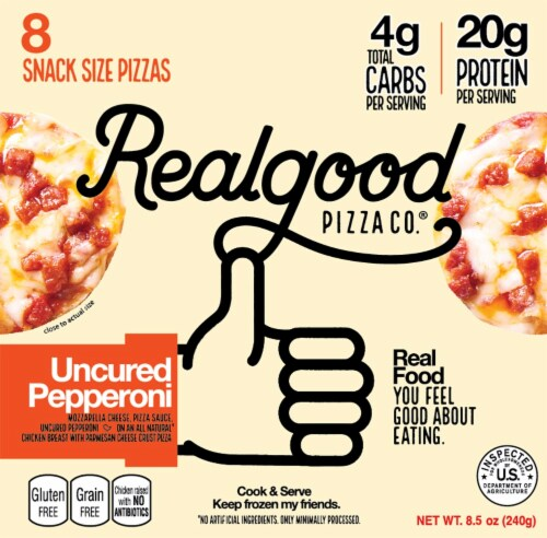 Real Good Pizza Co. Uncured Pepperoni Snack Size Pizzas 8 Count Perspective: front