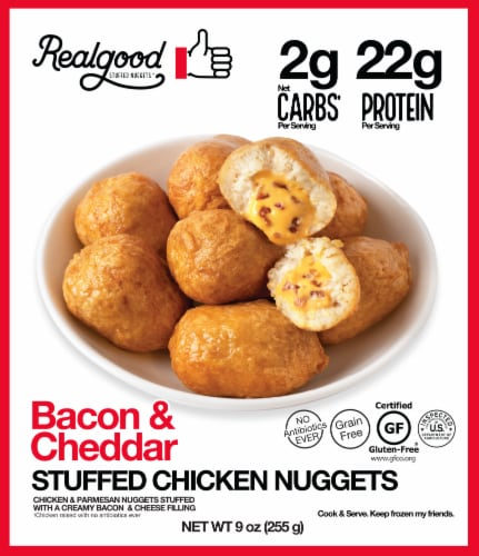 The Real Good Food Company Bacon & Cheddar Stuffed Chicken Nuggets Perspective: front
