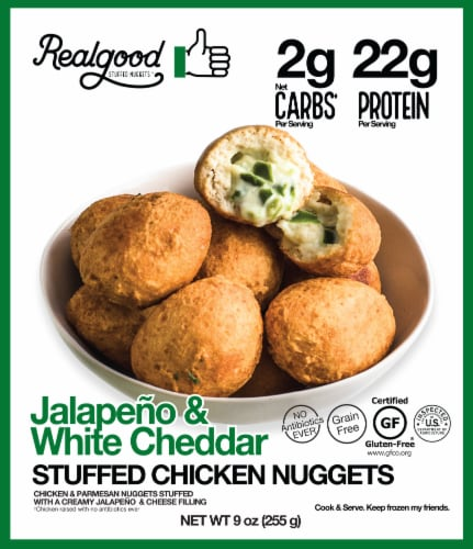 The Real Good Food Company Chicken & Parmesan Poppers Stuffed with a Creamy Jalapeno White Cheddar Perspective: front