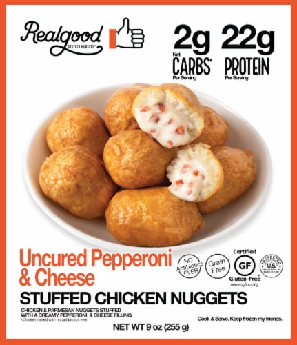 The Real Good Food Company Uncured Pepperoni & Cheese Stuffed Chicken Nuggets Perspective: front