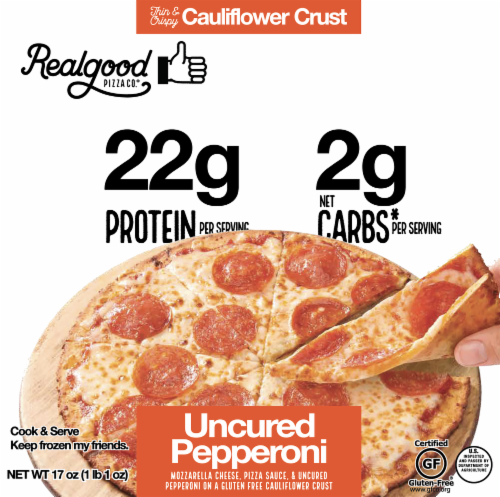 The Real Good Food Company Cauliflower Crust Pepperoni Pizza Perspective: front