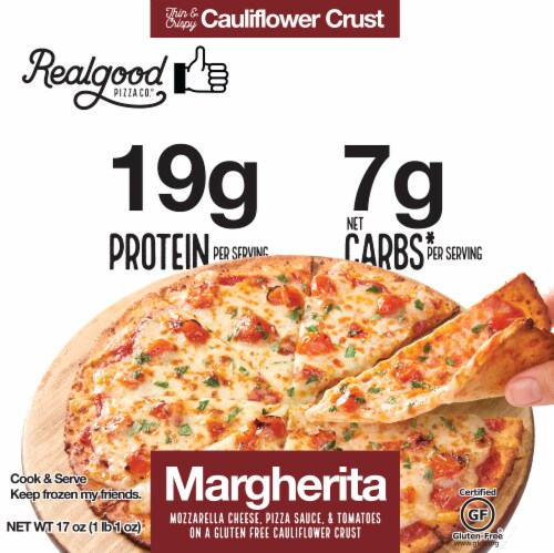 Real Good Pizza Co. Cauliflower Crust Margherita Pizza Perspective: front