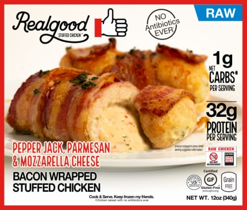 Realgood Raw Bacon Wrapped Stuffed Chicken with Pepper Jack Cheese Perspective: front