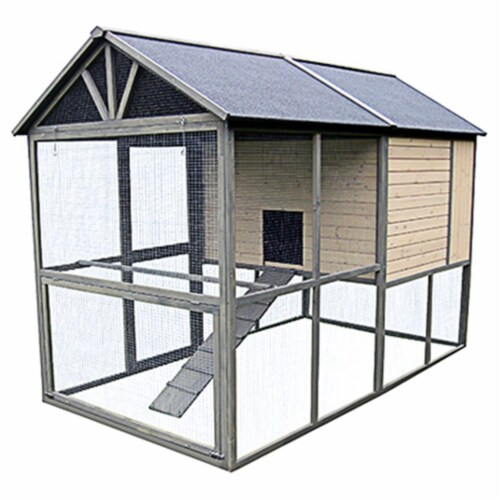 Innovation Pet 242682 Extra Large Walk in Hen Coop, Taupe with Dark Chocolate Trim Perspective: front