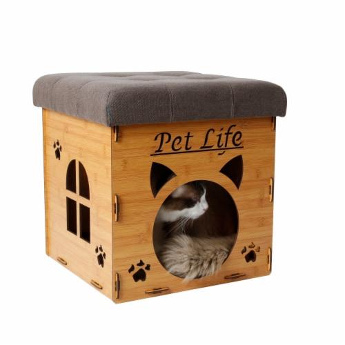 Pet Life FN1LBRMD Foldaway Collapsible Designer Cat House Furniture Bench, Light Wood Perspective: front