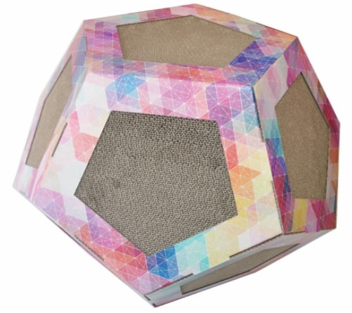 Pet Life CTS2RB Octagon Pet Cat Scratcher Toy & House, Pink Pattern - One Size Perspective: front