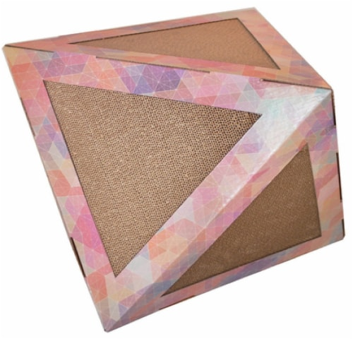 Pet Life CTS3RB Ultra Premium Collapsible Puzzle Pet Cat Scratcher House, Pink Pattern - One Perspective: front