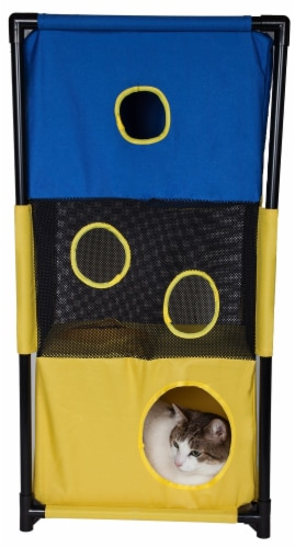 Pet Life PTT6YLBL Kitty Square Soft Folding Pet Cat House Furniture, Blue & Yellow - One Size Perspective: front