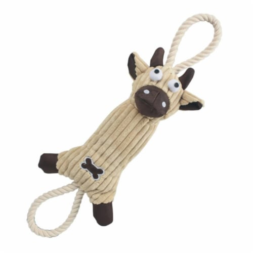 Pet Life DT7BR Jute And Rope Plush Cow Pet Toy - Brown, One Size Perspective: front