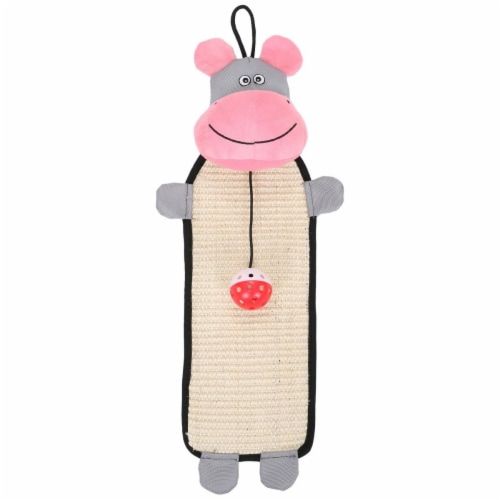 Pet Life CTY1PK Natural Sisal & Jute Hanging Carpet Kitty Cat Scratcher with Toy, Pink & Grey Perspective: front