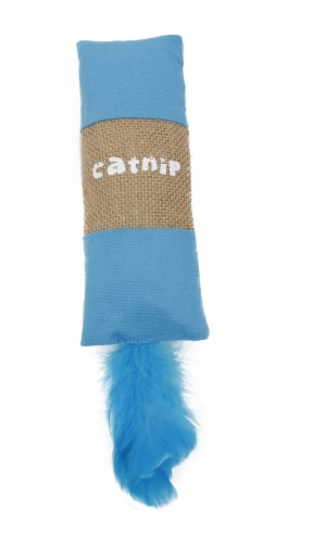 Pet Life CTY8BL Duffle Faux Fur Catnip Cat Toy, Blue - One Size Perspective: front