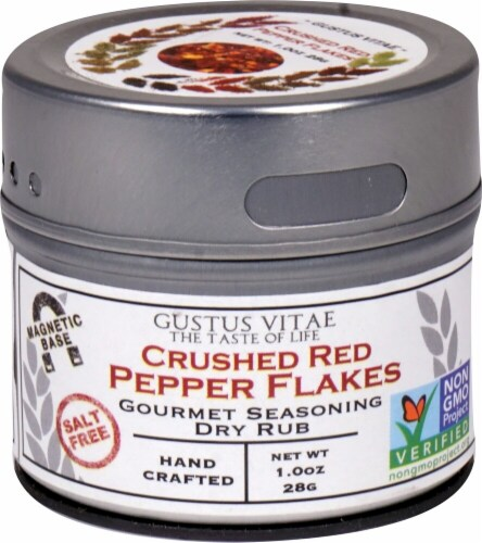 Gustus Vitae  Gourmet Seasoning Dry Rub In Magnetic Tin   Crushed Red Pepper Flakes Perspective: front