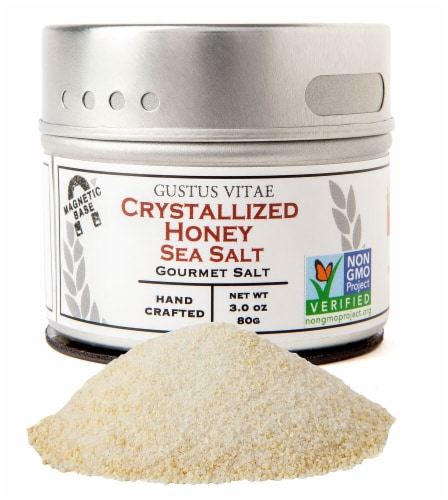 Gustus Vitae Crystallized Honey Gourmet Sea Salt Perspective: front