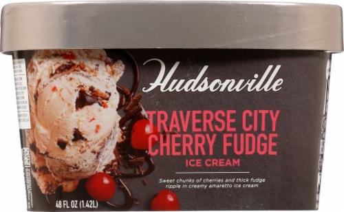 Hudsonville Premium Traverse City Cherry Fudge Ice Cream Perspective: front