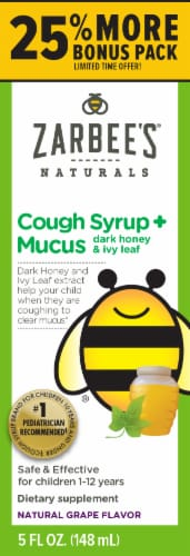 Zarbee's Grape Cough Syrup & Mucus Reducer Perspective: front