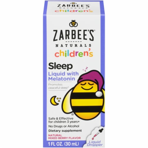 Zarbee's Naturals Children's Mixed Berry Flavor Sleep Liquid with Melatonin Perspective: front