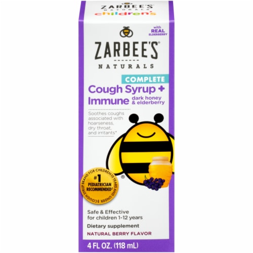 Zarbee's Naturals Complete Cough Syrup + Immune Natural Berry Flavor Dietary Supplement Perspective: front