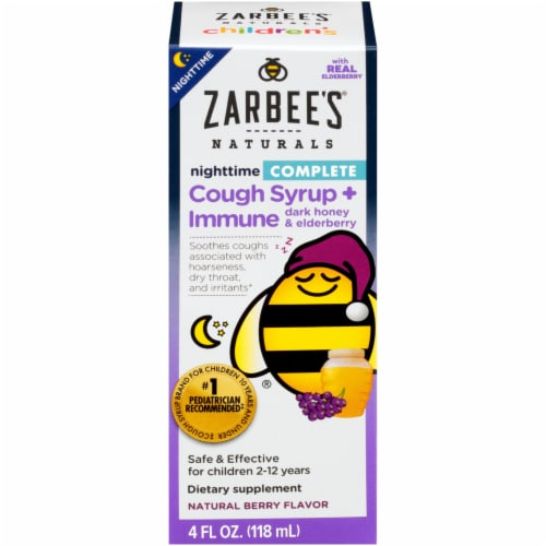 Zarbee's Naturals Children's Nighttime Complete Berry Flavor Cough Syrup + Immune Dietary Supplement Perspective: front