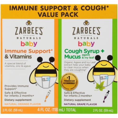 Zarbee's Naturals Baby Immune Support & Cough + Mucus Value Pack Perspective: front