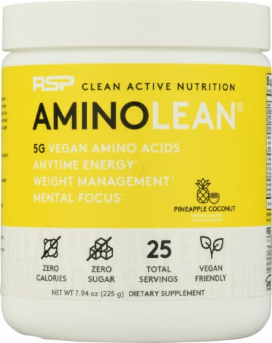 RSPNutrition Vegan AminoLean Pineapple Coconut Dietary Supplement Perspective: front