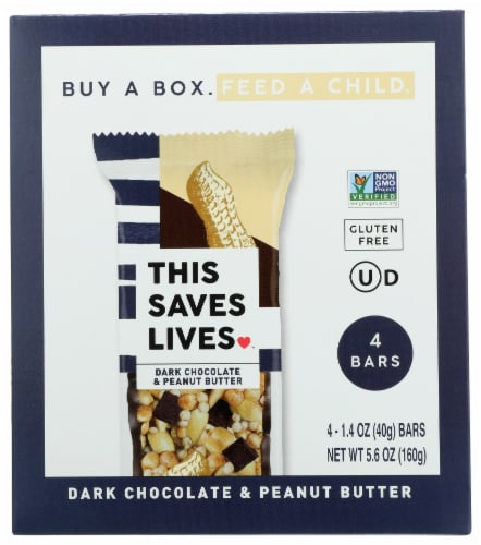This Saves Lives Dark Chocolate Peanut Butter Bars Perspective: front