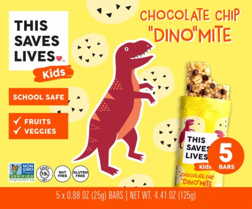 This Saves Lives Kids Chocolate Chip Dino-Mite Bars Perspective: front