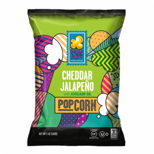 Pop Art Gourmet White Cheddar Jalapeno Popcorn Perspective: front