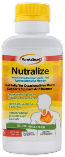 Nutralize Heartburn Relief Ginger Peach Liquid Perspective: front