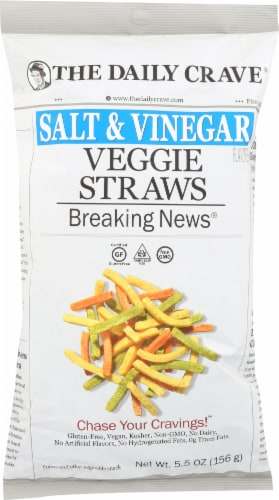 The Daily Crave Salt & Vinegar Veggie Straws Perspective: front