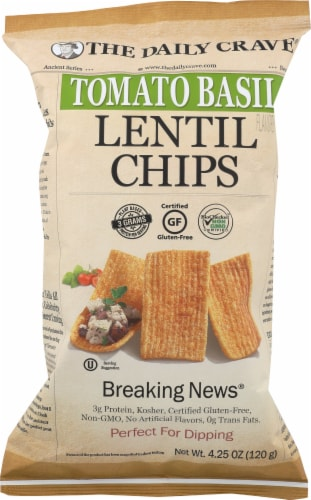 The Daily Crave Gluten Free Tomato Basil Lentil Chips Perspective: front