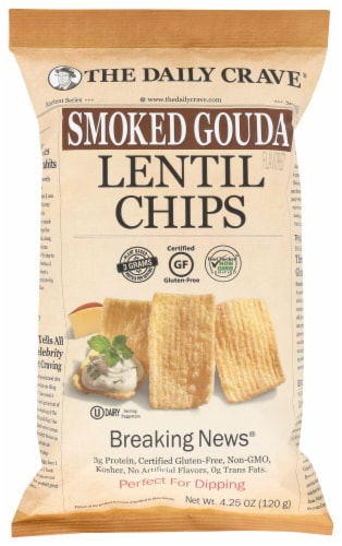 The Daily Crave Smoked Gouda Lentil Chips Perspective: front