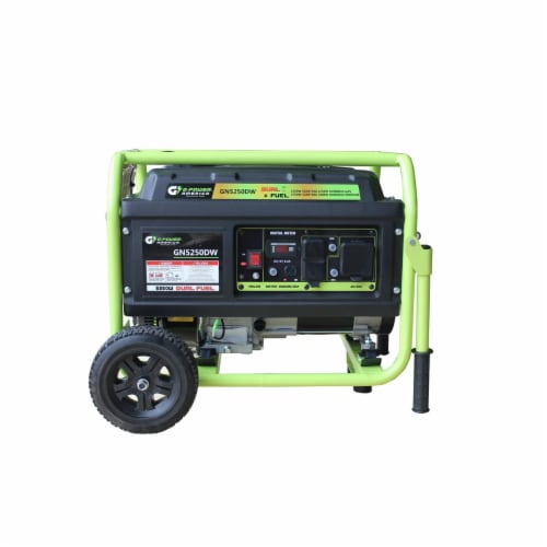 Green-Power GN5250DW 5250-4750W Dual Fuel Gasoline & Propane Powered Portable Generator with Perspective: front