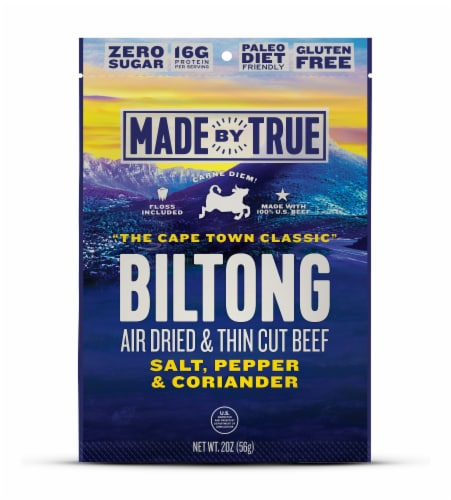 True Jerky Cape Town Classic Beef Biltong Jerky Perspective: front