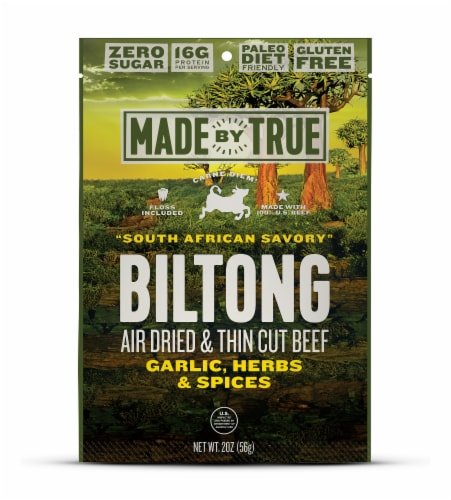 True Jerky Gluten Free South African Savory Beef Biltong Jerky Perspective: front