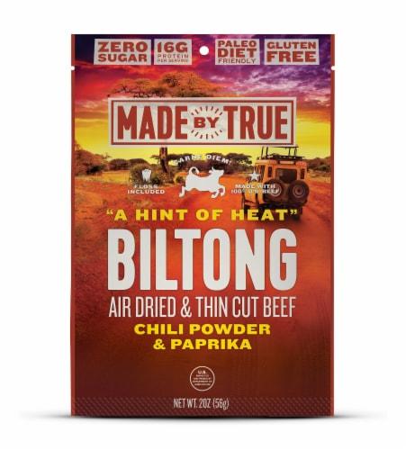 True Jerky Gluten Free Hint of Heat Beef Biltong Jerky Perspective: front