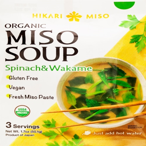 Hikari Organic Spinach & Wakame Miso Soup Perspective: front